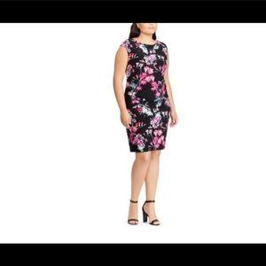 Plus Size Chaps Floral Sheath Dress 14w NWT